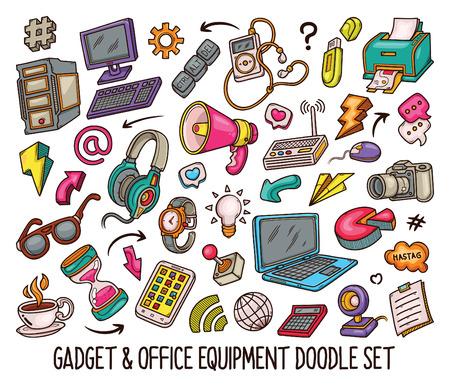 Hand drawn set of Gadget doodles in Colors vector