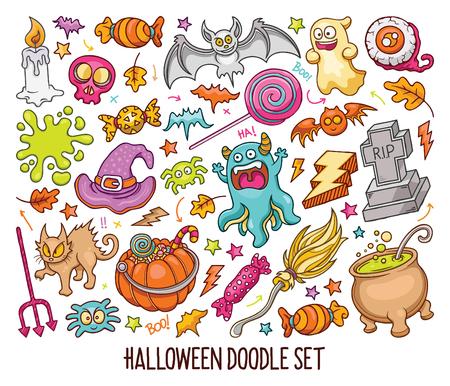 Hand drawn set of Halloween doodles in Colors vector