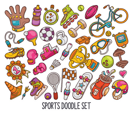 Hand drawn set of Sport doodles in colors vector