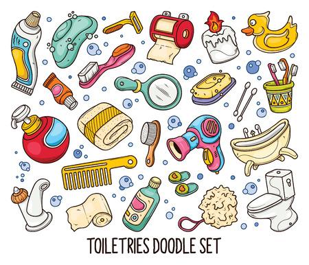Hand drawn set of Bathroom doodles in vector in colors