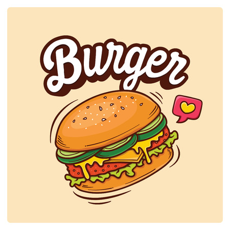 Hand Drawn Big Burger Vector Doodle Illustration