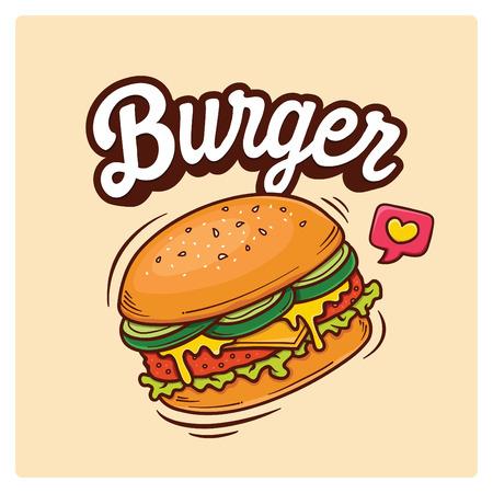 Illustrazione disegnata a mano di scarabocchio di vettore dell'hamburger grande