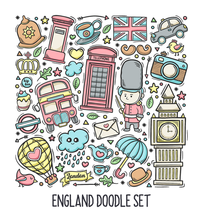 London England Hand Drawn Doodle Colorful Vector