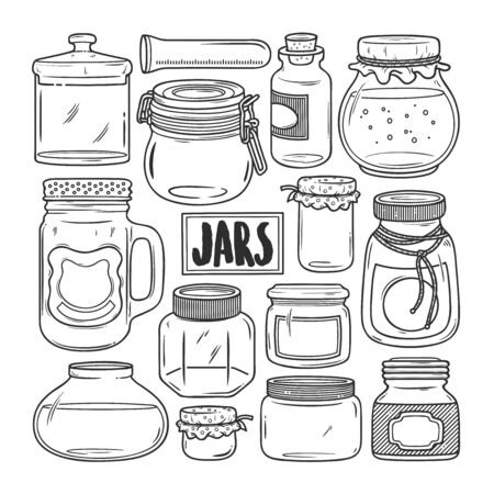 Jars Hand Drawn Doodle Coloring Vector