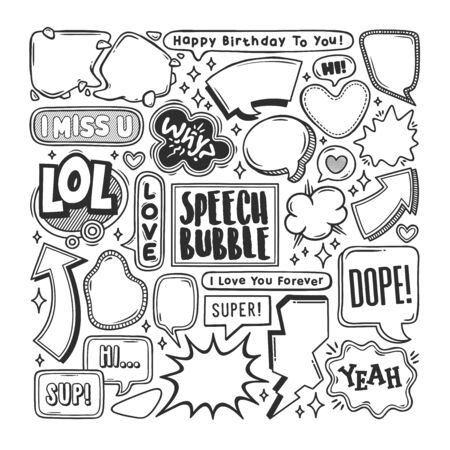 Speech Bubble Hand Drawn Doodle Coloring Vector Vettoriali