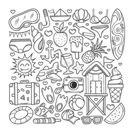 Summer Icons Hand Drawn Doodle Coloring Vector Ilustrace
