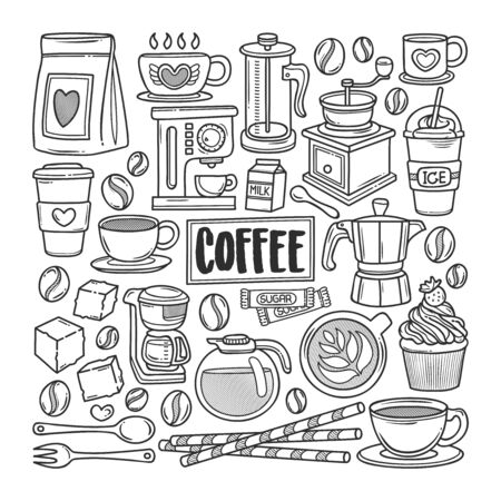 Coffee Hand Drawn Doodle Coloring Vector