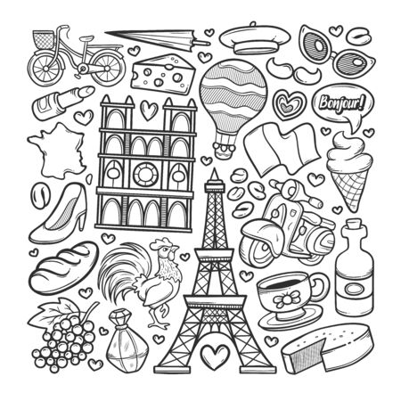 France Hand Drawn Doodle Coloring Vector Ilustracja