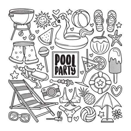 Pool Party Drawn Doodle Coloring Vector