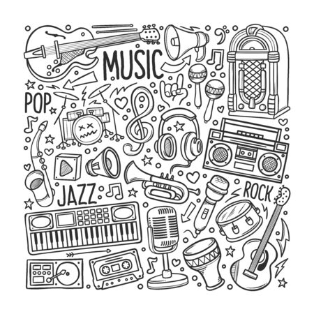 Hand drawn set of Music in Doodles vector