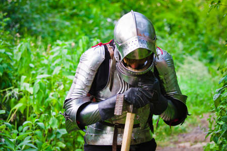 knight in shining armor on a green background