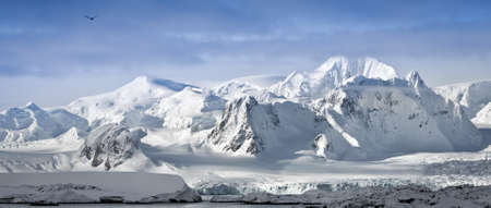 antarctic: Beautiful snow-capped mountains against the blue sky