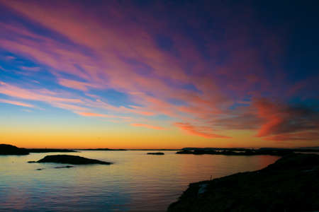 Very beautiful sunset in Antarctica, saturated colors Stock Photo