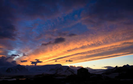 Beautiful sunset in Antarctica, mountains in the backgroun Stock Photo - 8014293