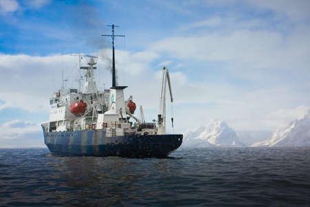 Big ship in Antarctic waters