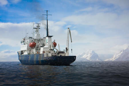 Big ship in Antarctic waters Stock Photo - 8014312