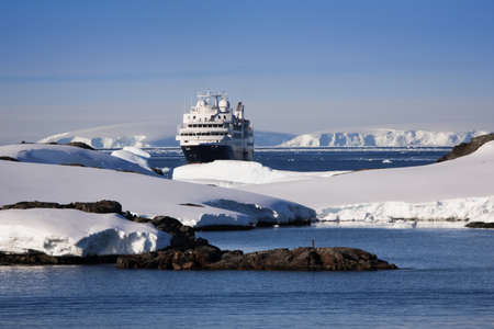 antarctic: Big cruise ship in Antarctic waters