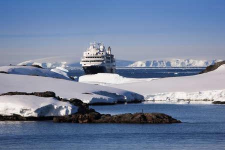 waters: Big cruise ship in Antarctic waters
