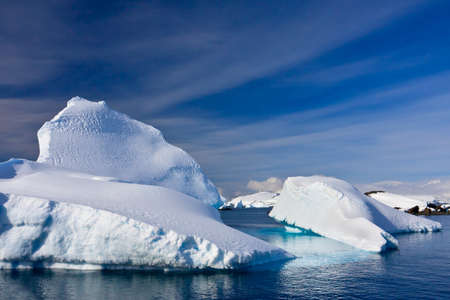 Beautifull big antarctic iceberg in the snow photo