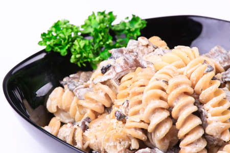 Cooked  pasta with meat and mushrooms Stock Photo - 8986972