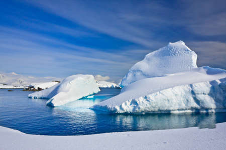 south pole: Icebergs in Antarctica Stock Photo