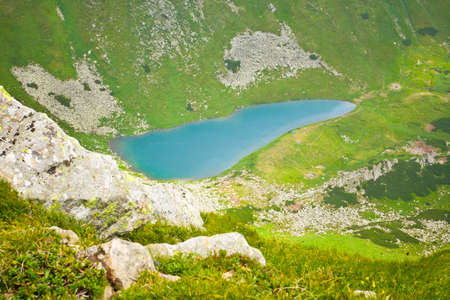 Beautiful landscape with lake in Carpathian photo