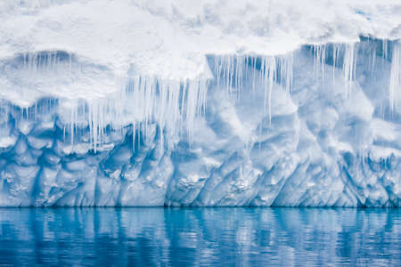 icicles: Reflection of the Antarctic Glacier with icicles