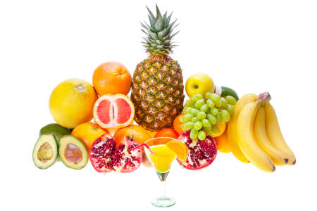 fresh juice of different ripe fruits