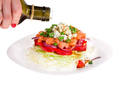 refined vegetable salad with blue cheese and salmon photo