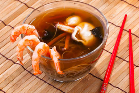japanese culture: traditional Japanese miso soup with prawns