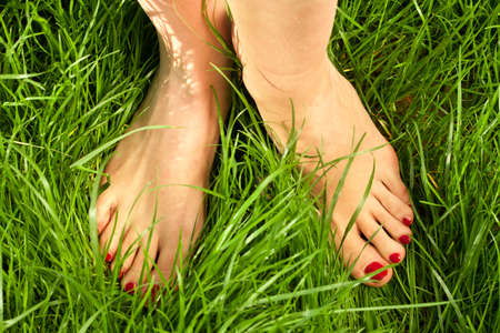 Womans bare feet in the green grass photo
