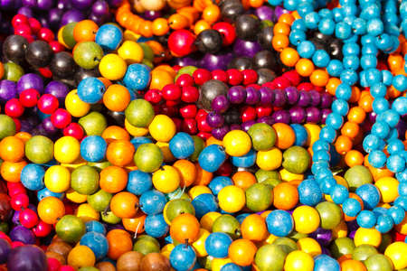 colorful beads: Close up of colorful necklace pil