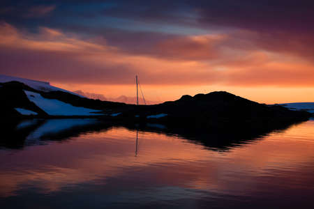 Summer  sunset in Antarctica.  Beautiful winter background. Stock Photo - 10566789