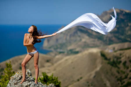 beauty woman on the rock white tissue