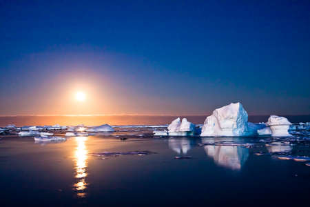 Summer night in Antarctica.Icebergs floating in the moonlight
