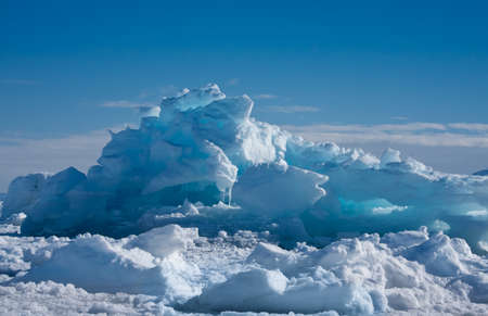 Antarctic Glacier with cavities. Beautiful winter background. photo