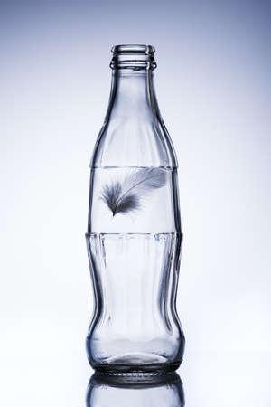 bottleneck: bottle with feather isolated on the white background Stock Photo