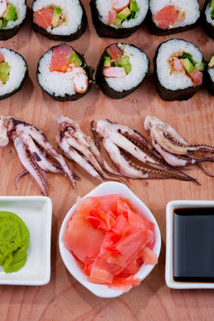Japanese sushi, traditional japanese food, home sushi photo