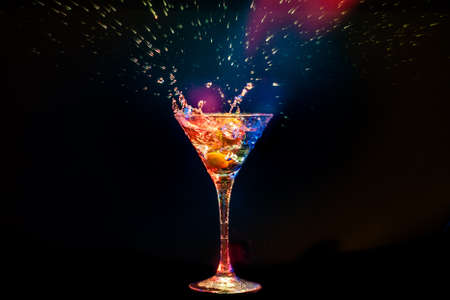 colourful coctail on the black background Stock Photo - 15094340