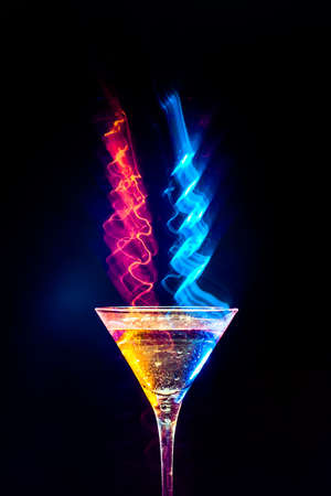 colourful coctail on the black background Stock Photo - 15276476