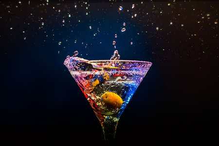 fresh coctail on the black background Stock Photo