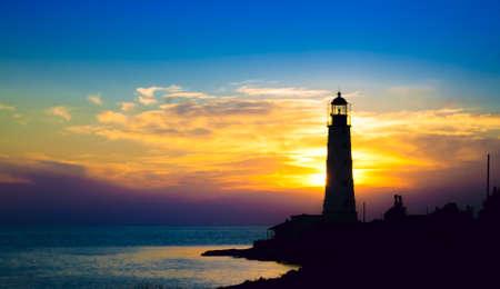 Lighthouse on sunset. Crimea, Ukraine Stock Photo - 16245201
