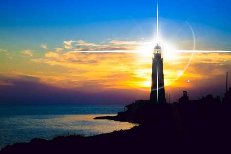 Latarnia morska na zachód słońca. Krym, Ukraina Zdjęcie Seryjne