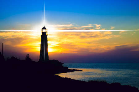 maritime: Lighthouse on sunset. Crimea, Ukraine