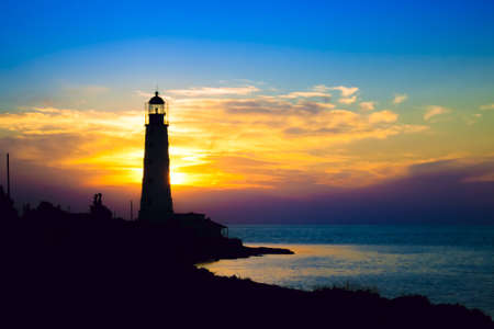 lighthouse at night: Lighthouse on sunset. Crimea, Ukraine