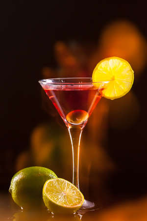 modern fresh coctail on the black background photo