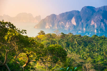 Phi: Tropical landscape. Phi-phi island, panorama view. Thailand.