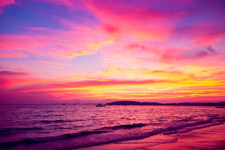 Tropical sunset on the beach. Ao-Nang. Krabi. Thailand Stock Photo - 24896384