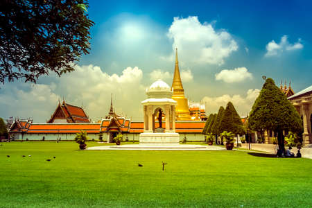 temple tower: Bangkok luxurious royal palace and garden, Thailand