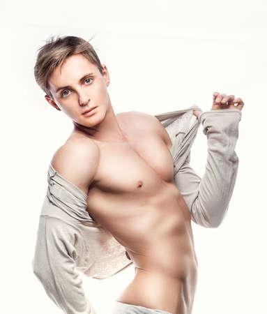 m�nner nackt: Sexy Portr�t einer jungen muskul�sen m�nnlichen Modus Lizenzfreie Bilder